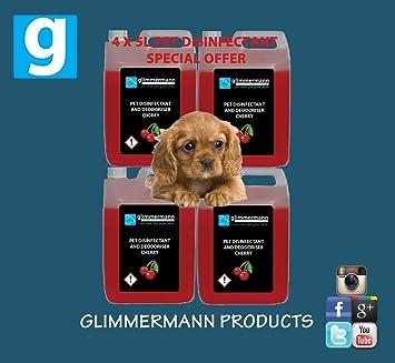 Mascota Perro desinfectante de caseta quitaolores Limpiador cattery animales 4 x 5L cereza fragancia también Bubblegum/Limón - 20L: Amazon.es: Productos ...