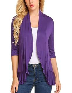 6644fbd167 Zeagoo Women s Open Front Cardigan 3 4 Sleeve Draped Ruffles Kimono Soft  Knit Sweaters