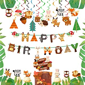 LaVenty Set of 15 Woodland Party Supplies Animal Birthday Banner Woodland Animals Banner Forest Animal Friends Themed Balloons Woodland Animals Baby Shower Birthday Party Decorations