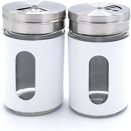 Salt and Pepper Shaker Set of 2 Stainless Steel and Plastic Clear Glass Classic