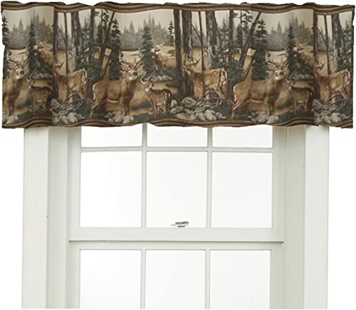 Blue Ridge Home Fashions Whitetail Dreams Rod Pocket Ruffled Curtain Valance