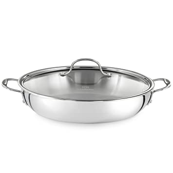 calphalon triply 12inch stainless steel everyday pan with cover