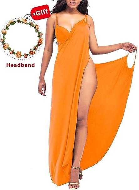 d60f9472816 Janestone Women Plus Size Spaghetti Strap Backless V Neck Cover up Beach  Dress Bikini Cover up with Headband at Amazon Women s Clothing store