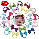 Baby Hair Ties Bows Kids Hair Tie Head Bands Ropes Hair Elastics Ponytail Toddler Fabric girls Hair Holder 20PCS