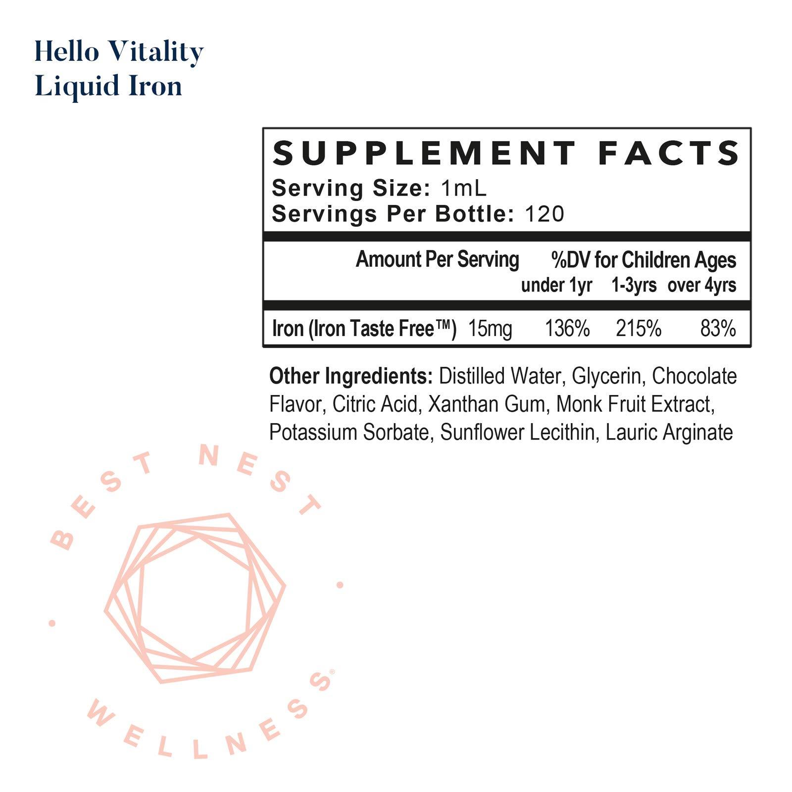 Hello Vitality Liquid Iron Supplement Drops, Chocolate Flavor, for Women, Men and Kids, High Potency, 15 mg per Serving, 4 Oz, Best Nest Wellness