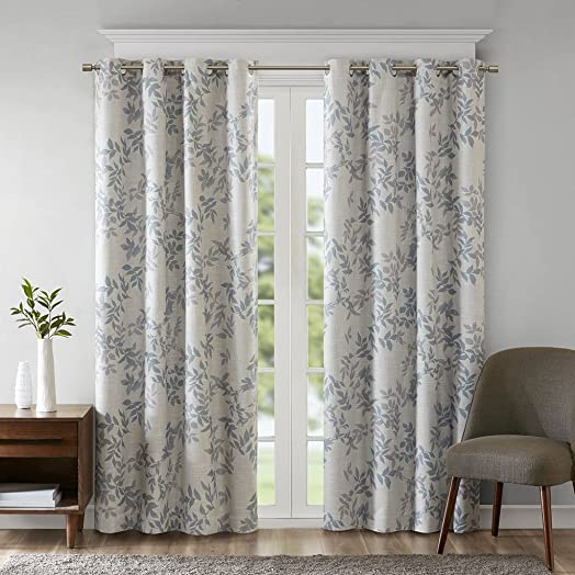 SUNSMART Julie Botanical Print Blackout Curtains, Casual Grommet Window Curtain for Bed Room Living Room Kitchen, Black Out Panels, 1-Panel Pack, 50×95, Aqua