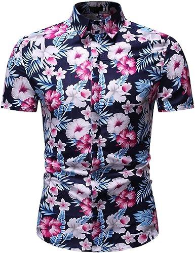 Cocoty-store 2019 botón de la Camisa Hawaiana de los Hombres de la Hoja de impresión de algodón hacia Abajo, M/L/XL/2XL/3XL, Verde Rosa Rojo: Amazon.es: Ropa y accesorios