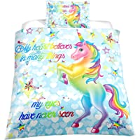 Helehome Kids Unicorn Duvet Cover Set Twin Fairytale with Sparkling Bedding Set Included One Duvet Cover One Pillowcase