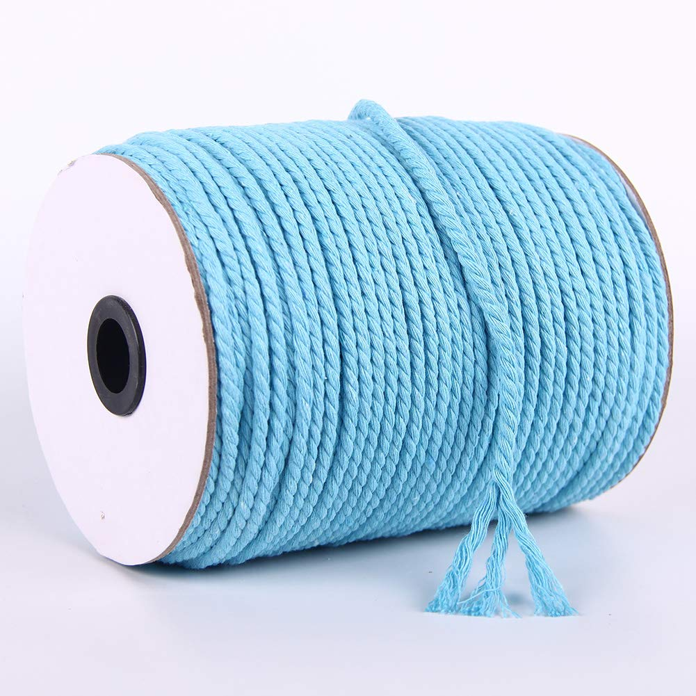 Blue Cotton Rope for Macrame Wall Hanging XKDOUS Colored Macrame Cord Lake Blue 4mm Decoration 3 ply Twisted Cotton Cord Knitting Plant Hangers Pet Toys Colorful Sky Blue Cotton Macrame Rope