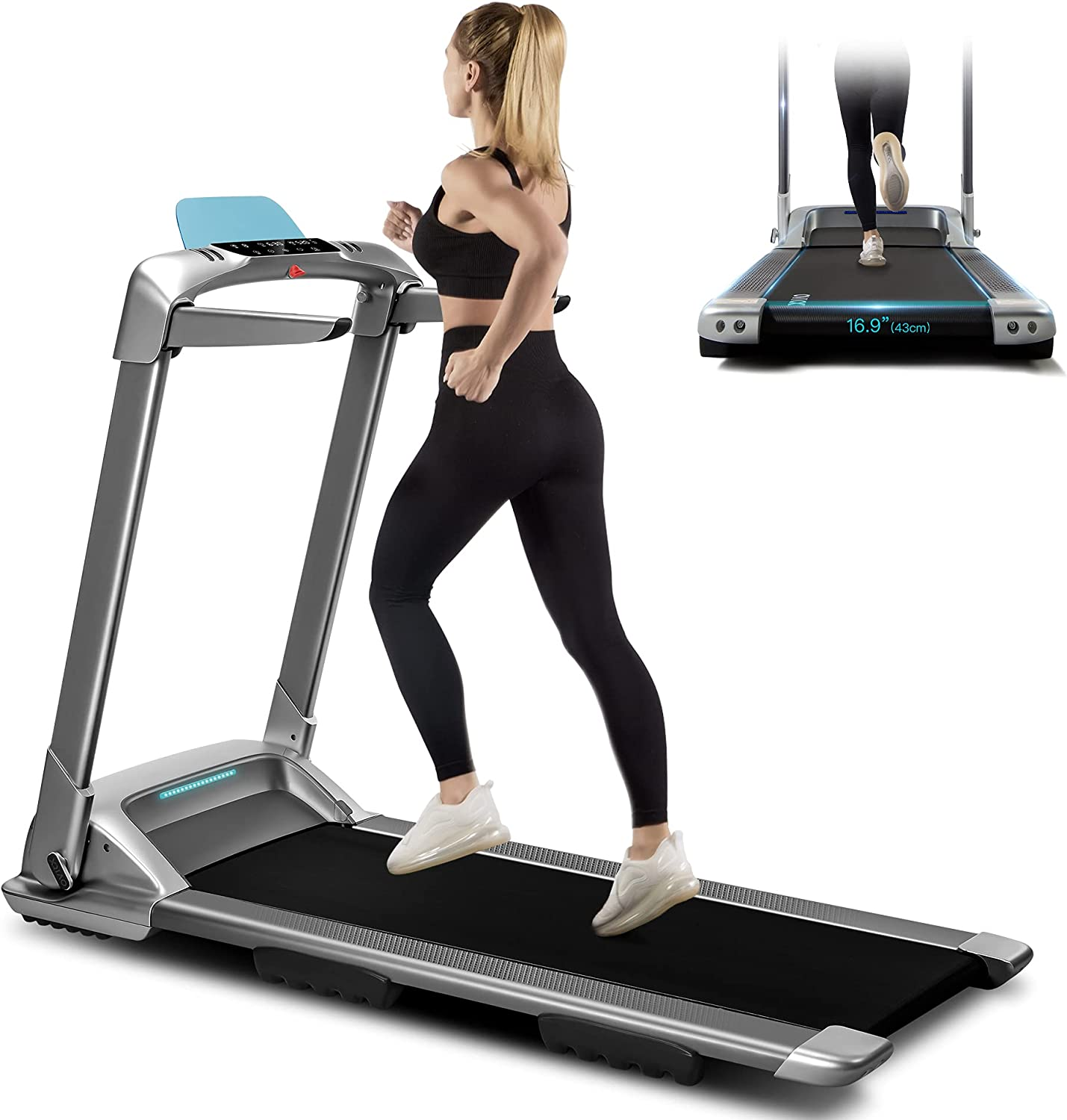 OVICX Folding Portable Treadmill Electric Foldable Treadmills with Bluetooth Installation-Free Running Treadmill for Home Office Use