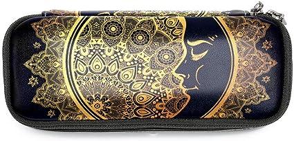 TIZORAX - Estuche para lápices y bolígrafos, diseño de luna, estilo bohemio: Amazon.es: Oficina y papelería