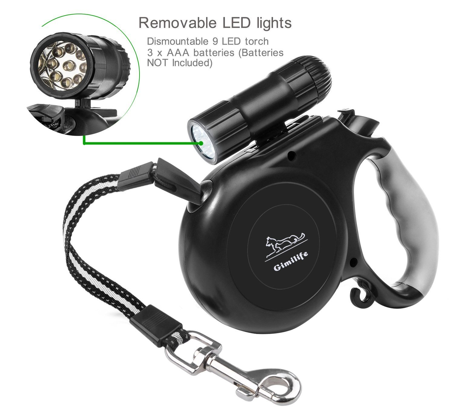 Gimilife 16ft Retractable Dog Leash with Detachable Flashlight LED Torch For Small Medium Large Pets- ABS Nylon TPE (Black)