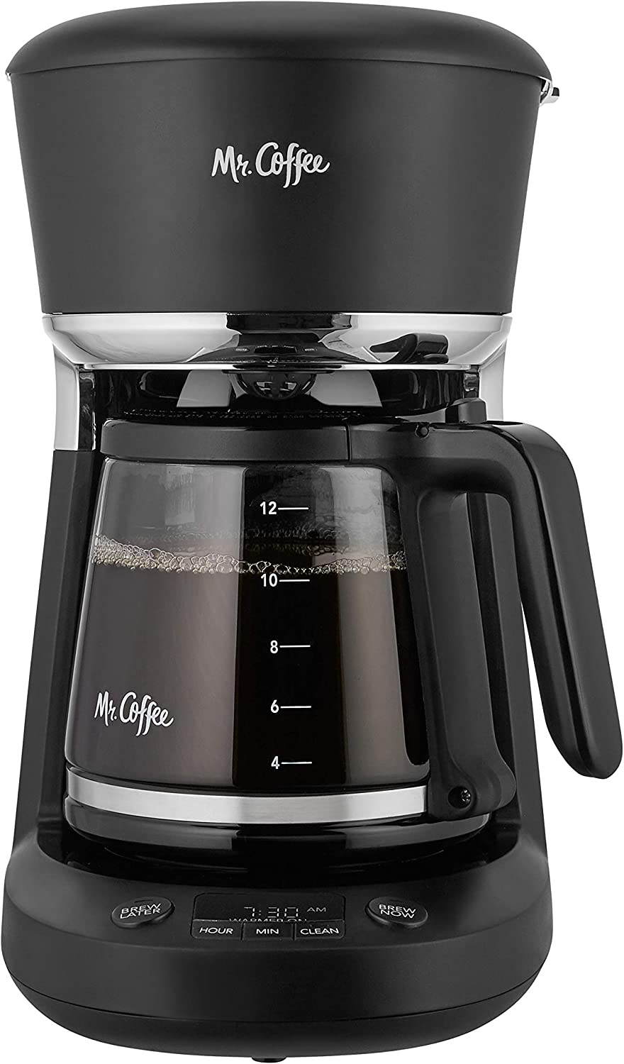Mr. Coffee 2097827 Programmable Coffee Maker with Dishwashable Design Advanced Water Filtration Black Chrome, 12 Cup