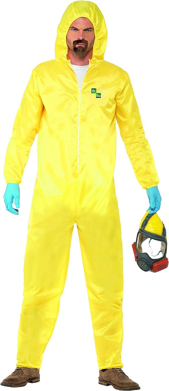 Smiffy's 20498M Heisenberg Licenciado oficialmente Disfraz de Breaking Bad, Amarillo, con buzo de protección, máscara, guantes y pe, color, M-Tamaño 38-40
