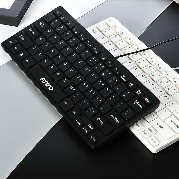 Teclado con cable tamaño pequeño teclado delgado de escritorio o portátil para ordenadores portátiles PC Win / 10/8/7 / Vista / XP y compatible con MacBook, ...