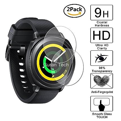 [2 Pack] Guran® Protector de Pantalla Vidrio Cristal Templado Para Samsung SM-R600 Gear Sport Smartwatch Cristal Vidrio Templado Film