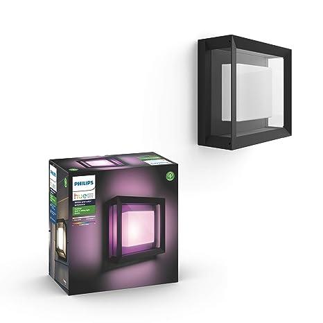 Philips Hue Econic Aplique cuadrado LED inteligente negro, luz blanca y de colores, compatible con Amazon Alexa, Apple HomeKit y Google Assistant