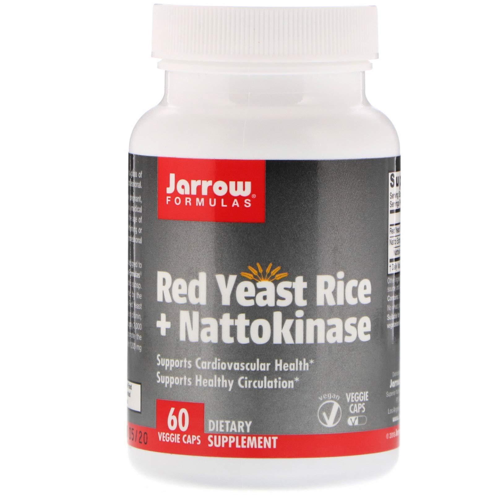 Jarrow Formulas, Red Yeast Rice + Nattokinase, 60 Veggie Caps