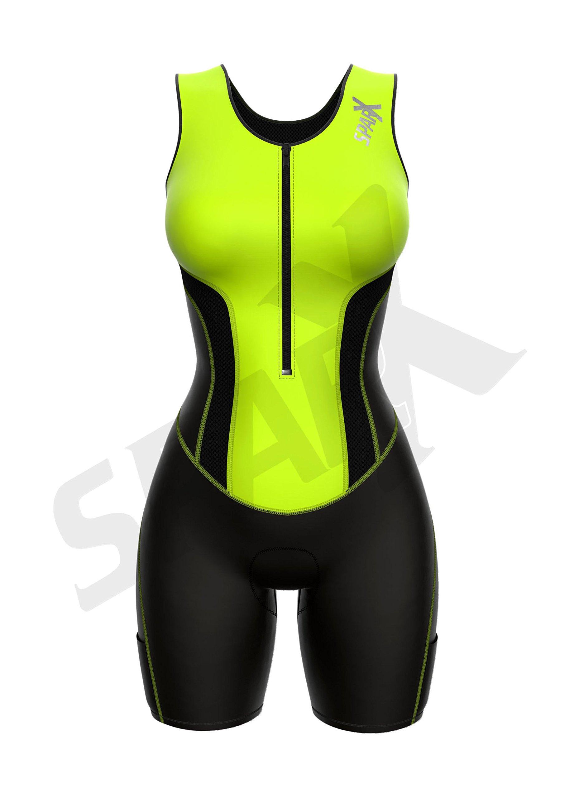 Sparx Women Triathlon Suit Tri Short Racing Cycling Swim Run (Small, Neon Green) by Sparx Sports (Image #2)