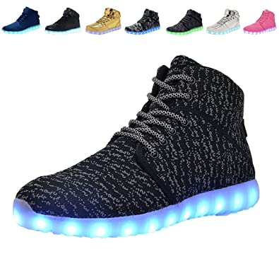 DEMANGO Led Light Up Shoes for Mens Womens High Top Flashing Rechargeable  Sneakers ,size 36