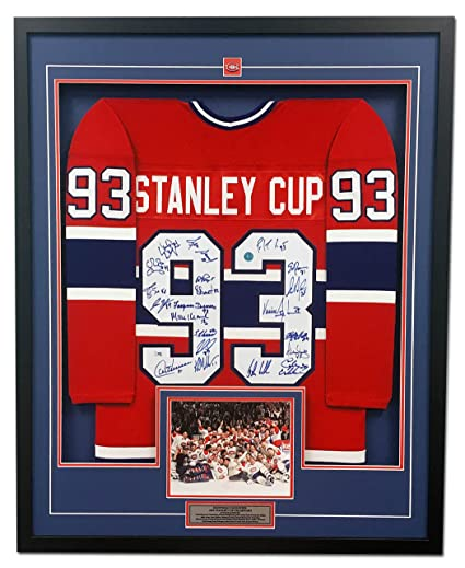 408d0c0a19d 1993 Montreal Canadiens 21 Player Team Signed Stanley Cup Jersey ...