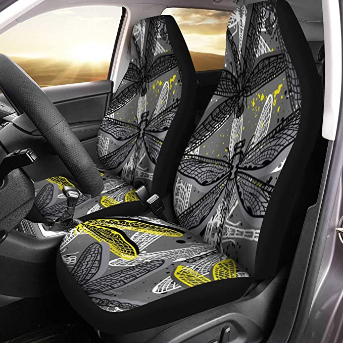 Pinbeam Car Seat Covers Abstract Dragonfly and Flowers Blackboard Animal Chalk Board Chalkboard Set of 2 Auto Accessories Protectors Car Decor Universal Fit for Car Truck SUV