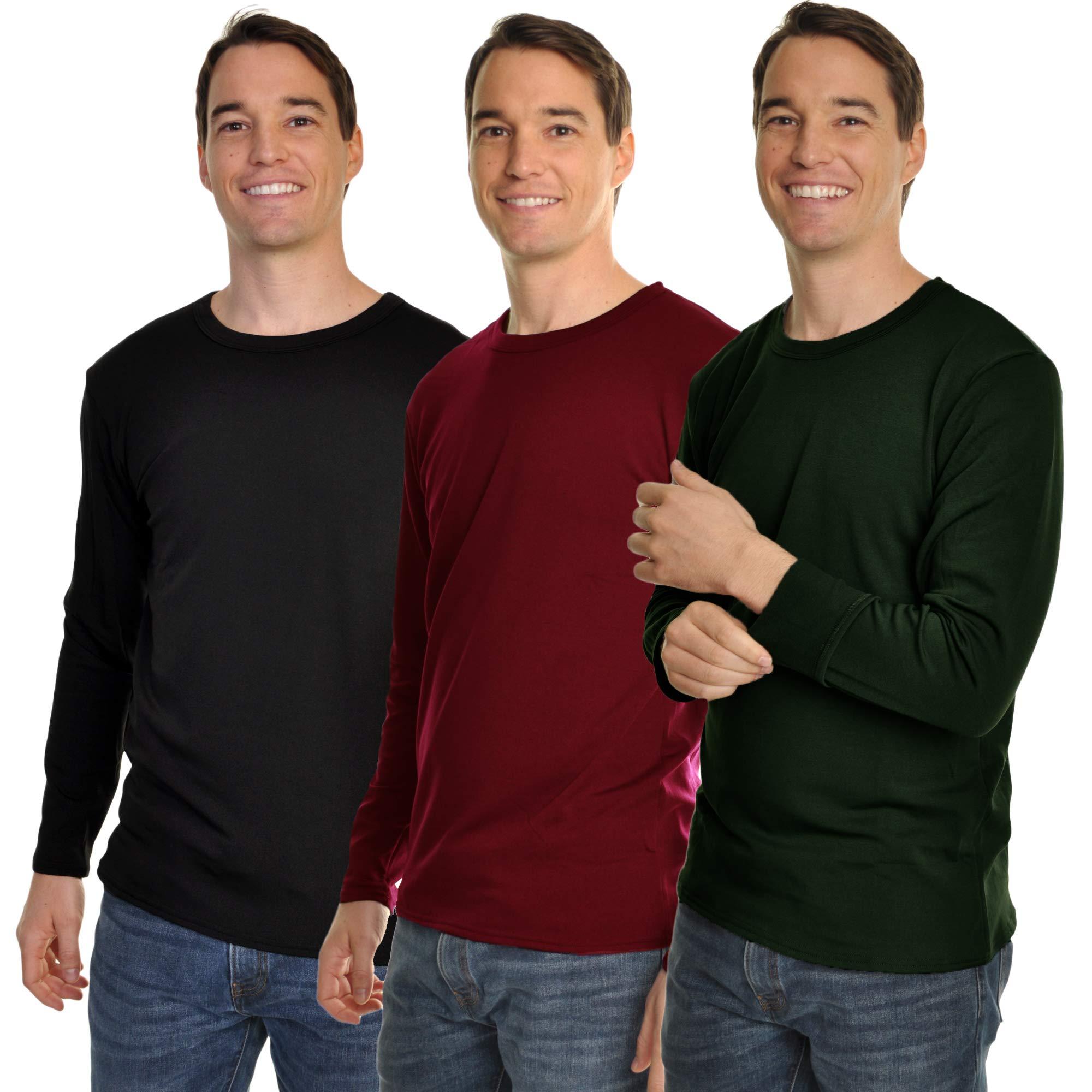 Swan Men's Fleece-Lined Long-Sleeve Thermal Tops #8915_C-BGR_M by Swan