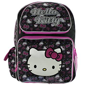 "Leopard Pink Bow 16/"" Pink Book Bag Sanrio Hello Kitty Large School Backpack"