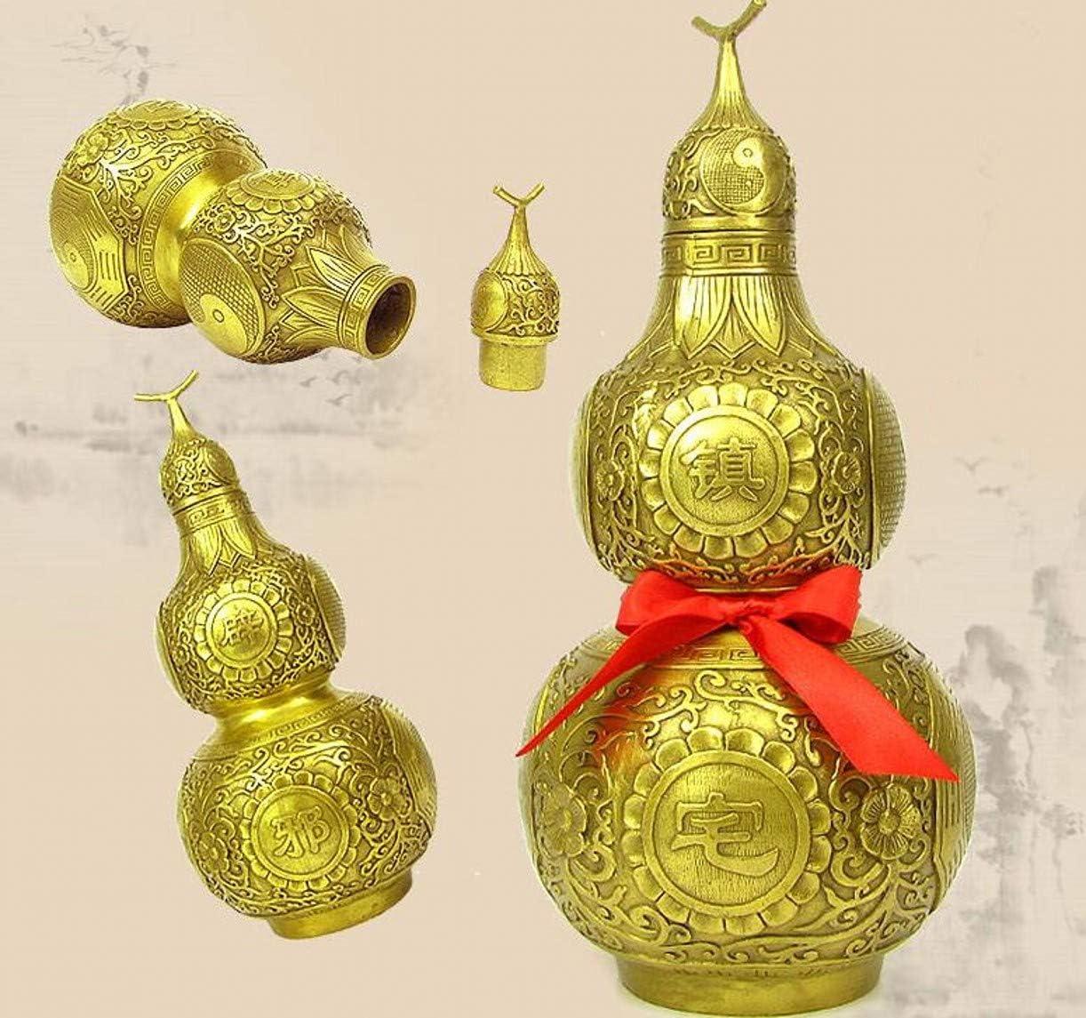 ,Chinese Charm of Prosperity Home Decoration Gift,Feng Shui Decor ZHONGJIUYUAN 1 Piece Feng Shui Brass Good Luck Gourd Wu Lou//Hu Lu