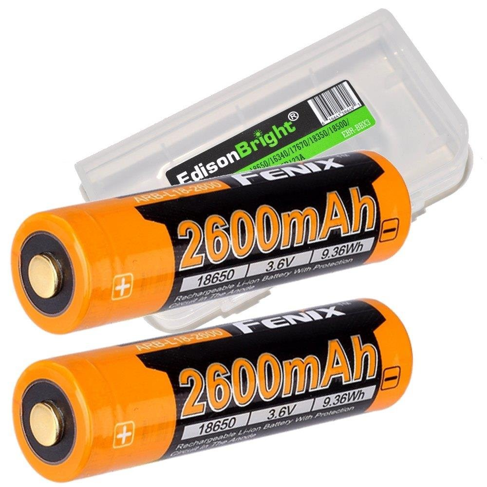 2 Pack Fenix ARB-L18-2600 Protected 18650 2600mAh Rechargeable Li-ion Batteries with EdisonBright BBX3 battery carry case - Designed for TK75 TK16 PD35 PD32 TK22 TK35 ARE-X1 ARE-C1 ARE-C2 and more
