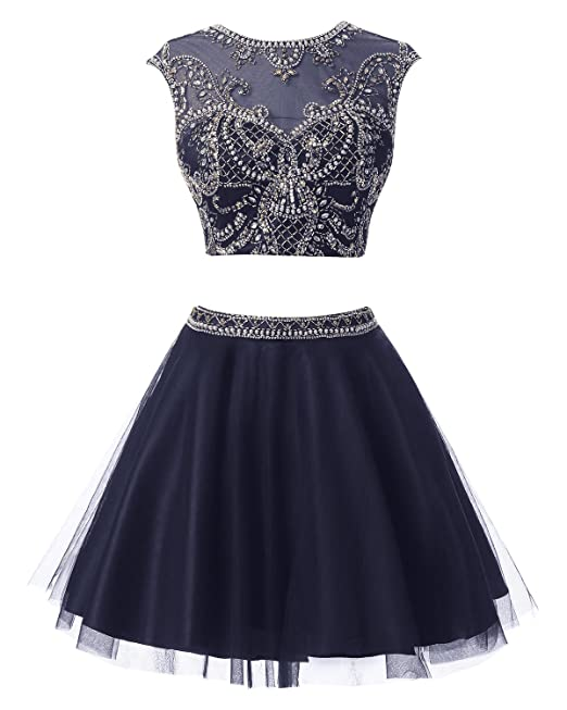 Bbonlinedress Vestido De Fiesta Mini Dos Piezas Corto Con Cuentas Azul Oscuro 32