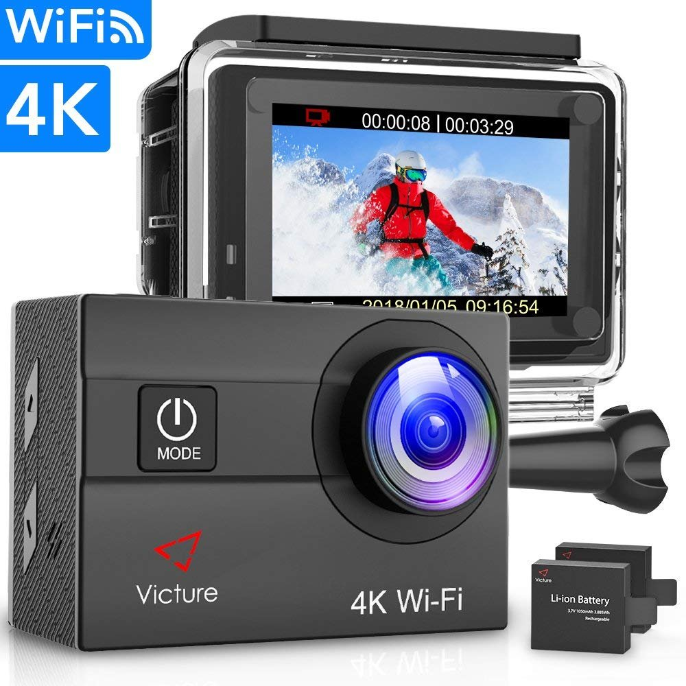 Victure Action Camera 4K Wifi 16MP 98Feet Waterproof Underwater Camera 170° Wide-angle 2 Inch Screen Sports Cam with 2 Rechargeable 1050mAh Batteries and Mounting Accessories by Victure