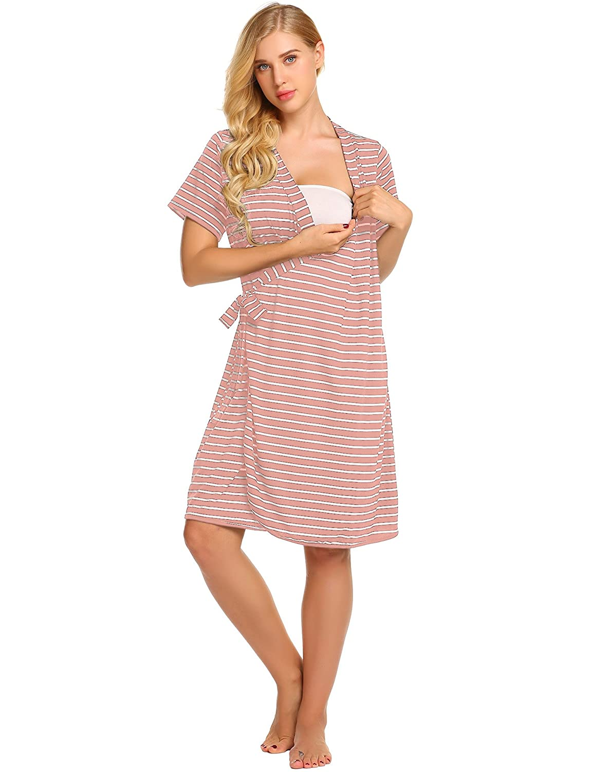 Ekouaer Striped Maternity Robe, Pregnant Short Sleeve Labor Delivery ...
