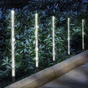 Beau Solar Garden Lights, HAIDEXI 6 Pack Whites Solar Tube Lights Pathway  Decoration Garden Stick Stake