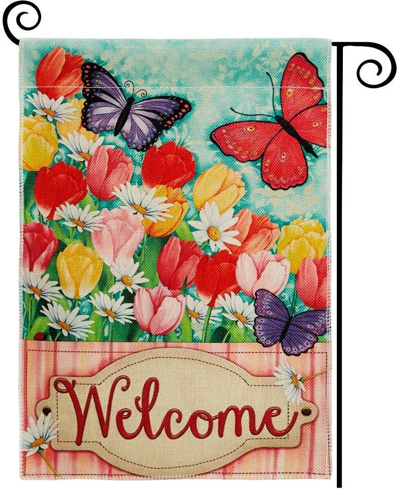 DOLOPL Welcome Garden Flag 12.5x18 Inch Double Sided Decorative Verticle Tulips Daisy Colorful Flowers Butterflies Seasonal Yard House Flag for Spring Summer Outdoor Indoor Decoration