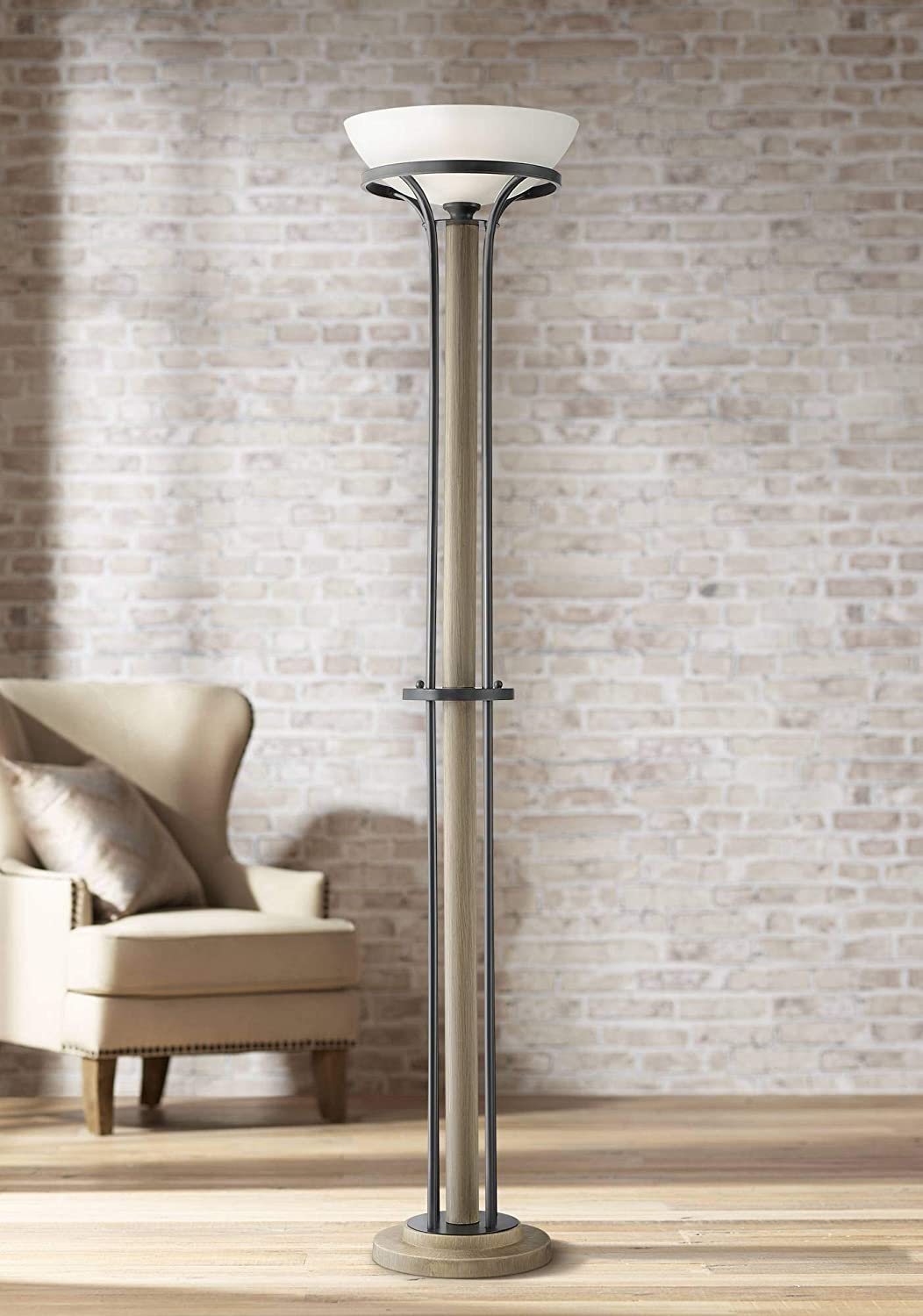 Sentry Rustic Farmhouse Torchiere Floor Lamp Wood Dark Textured Gray White Glass Shade for Living Room Reading Bedroom Office Uplight - Franklin Iron Works