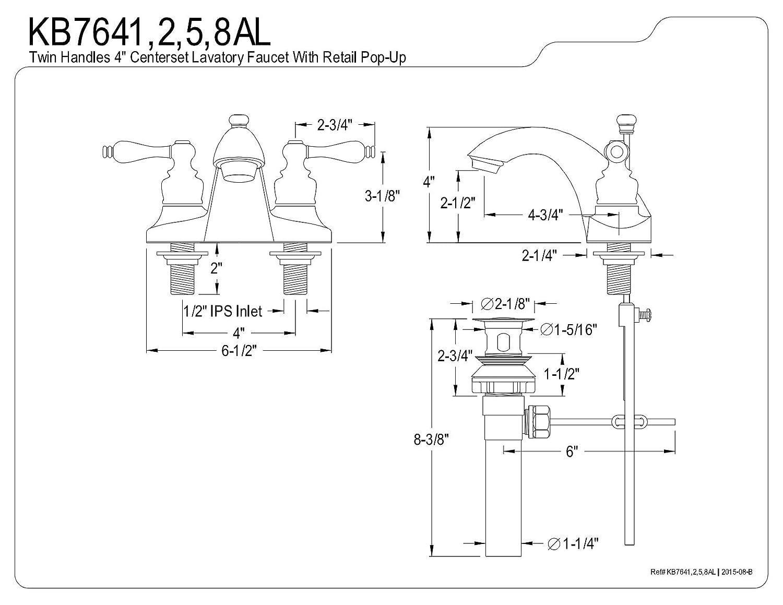 KINGSTON BRASS KB7641AL English Country 4 Centerset Lavatory Faucet Polished Chrome