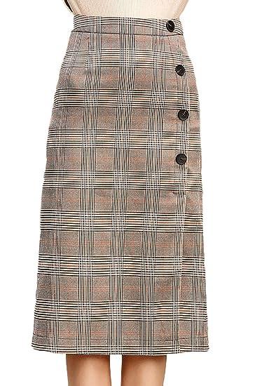 Faldas Mujer Otoño Invierno Faldas Casuales Vintage Cuadros Tubo ...