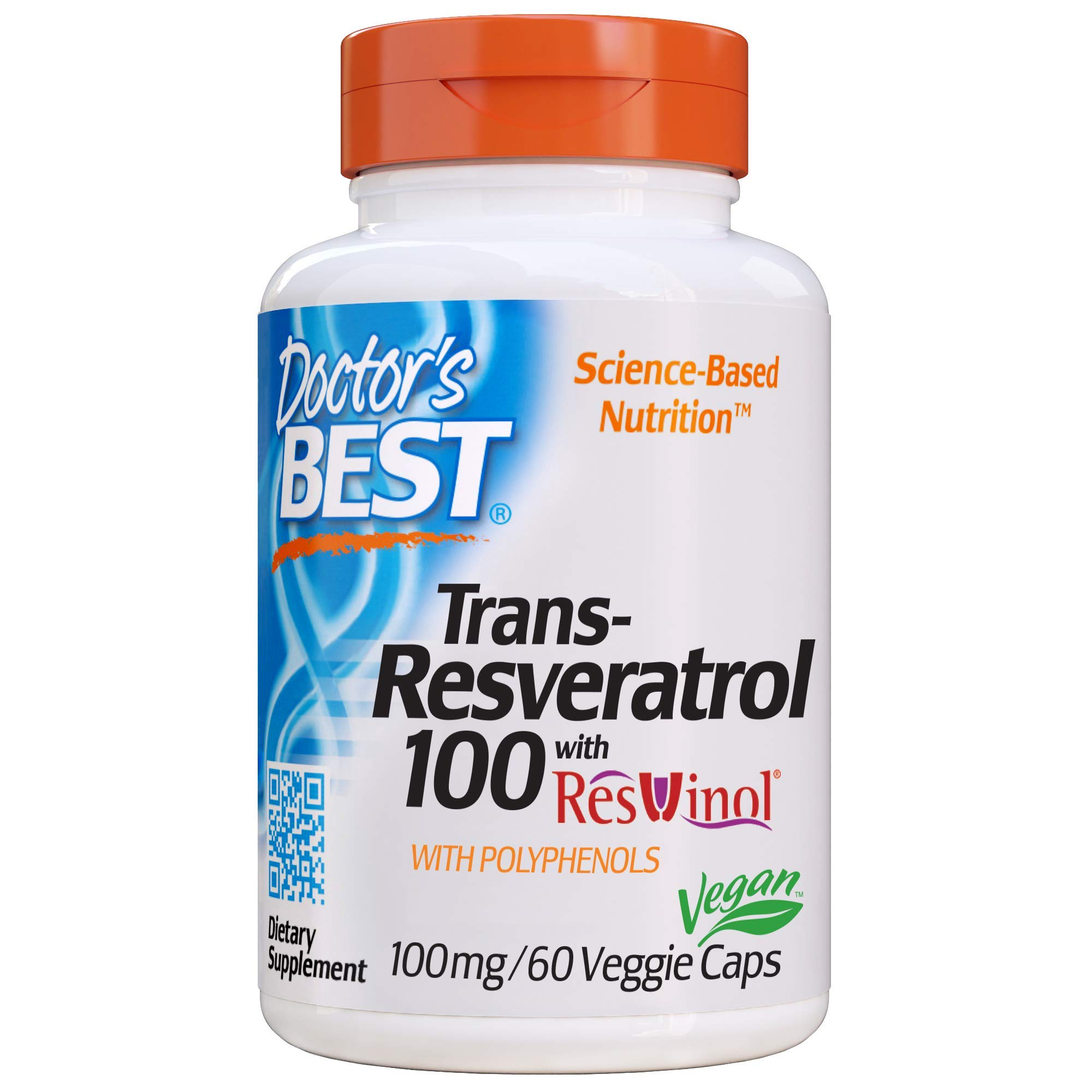 Doctor's Best, Trans-Resveratrol with Resvinol, Non-GMO, Vegan, Gluten Free, Soy Free, 100 mg, 60 Veggie Caps by Doctor's Best