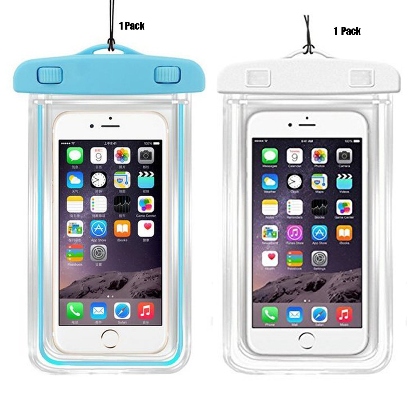 2Pack Universal Waterproof Case, CaseHQ Clear Transparent Cellphone Waterproof, Dustproof Dry Bag With Neck Strap for iPhone 8,8plus,7,7 Plus,6S,6S Plus,google pixel,and All Devices Up to 5.8 Inches