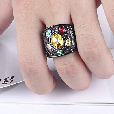 Valily Marvel Avengers Thanos Rings Stainless Steel Infinite Power Gauntlet Crystal Ring for Men Size 6-14