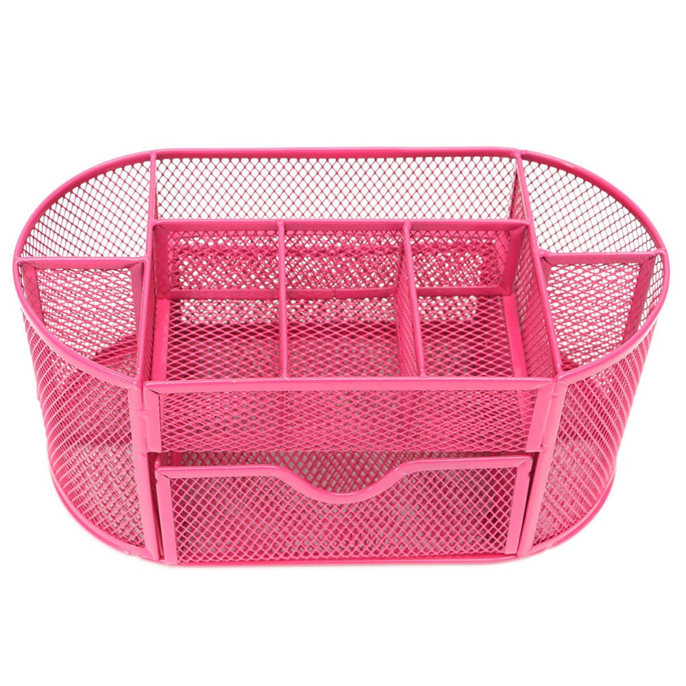 Mesh Desk Organizer Desktop Pencil Holder Accessories Office Supplies Caddy with Drawer, 9 Compartments (Pink) 1wc0fr2tx9yc2mx0