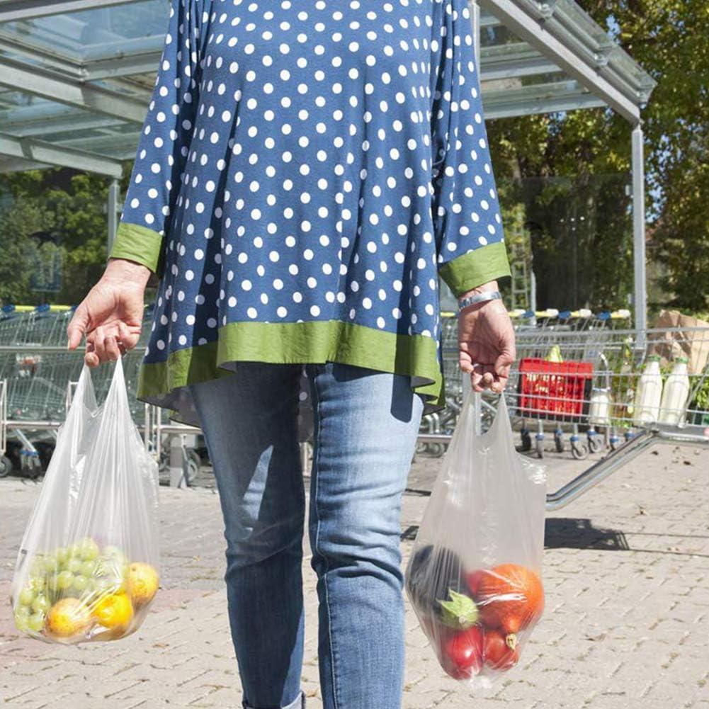 28 48 14cm FHYT 200 pz Sacchetti Trasparenti in Plastica con Manici Gilet Stile Sacchetti Buste per Spesa Nuovi Materiali