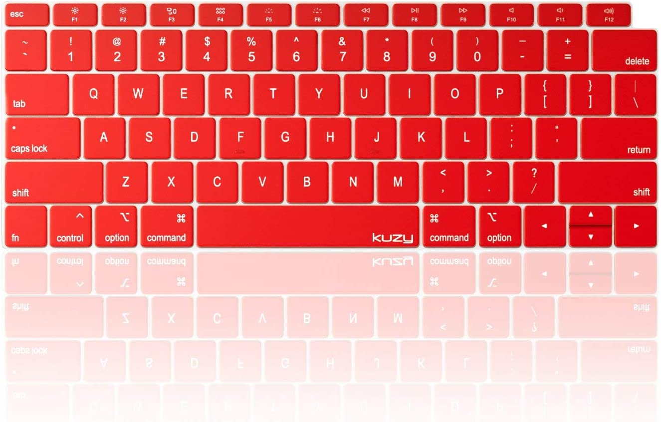 Kuzy MacBook Air Keyboard Cover, 13 inch 2019 2018 A1932 with Retina Display and Touch ID Silicone Key Board Protective Skin Protector, Apple MacBook Air 2019 Keyboard Cover, Red
