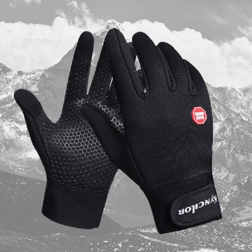 Mens Anti Slip Outdoor Sport Touchscreen Gloves,Crytech Winter Warm Adjustable Wrist Touch Screen Gloves Thermal Windproof Ski Riding Mountain Climbing Driving Mittens for Men