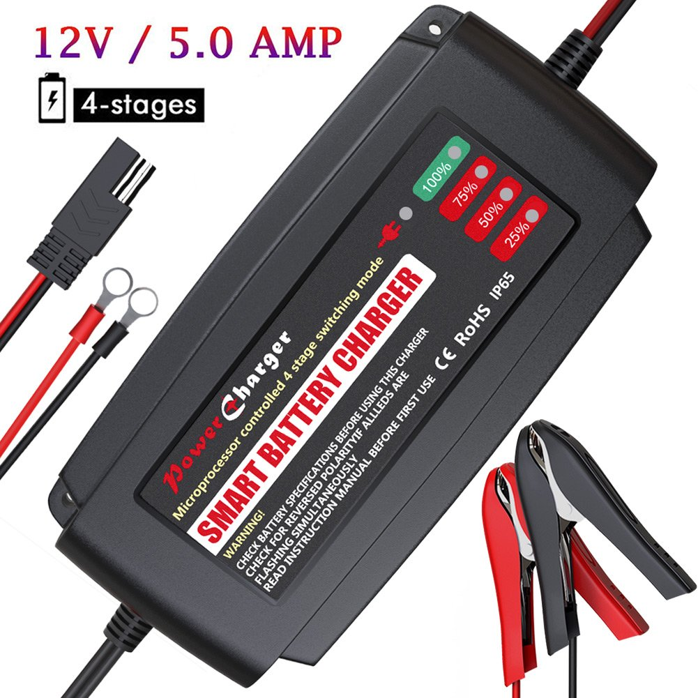 BMK 12V 5A Smart Battery Charger Portable Battery Maintainer with Detachable Alligator/Rings/Clips Fast Charging Waterproof Trickle Charger for Car Boat Lawn Mower Marine Sealed Lead Acid Battery by BMK BLUEMICKEY