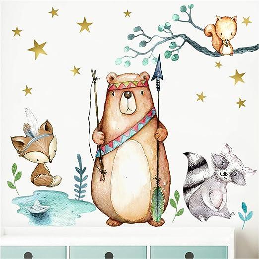 Little Deco Wandbild Waldtiere Pfeil & Bogen IS - 61 x 46 cm (BxH) I  Wandbilder Wandtattoo Kinderzimmer Junge Deko Babyzimmer Junge Wandsticker  Baby ...