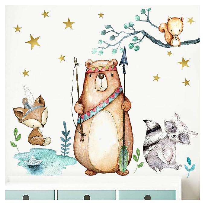 Little Deco Wandbild Waldtiere Pfeil & Bogen I M - 142 x 108 cm (BxH) I Wandbilder Wandtattoo Kinderzimmer Junge Deko Babyzim