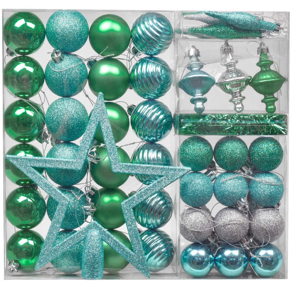 971cb8cfb9b Valery Madelyn 60 piezas Decoraciones para árboles de Navidad Juego de  plástico para decoración de árboles