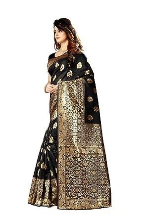 951dfd951d Women's Banarasi Saree Indian Wedding Ethnic Sari Unstitch Blouse PARI 23  (Black)